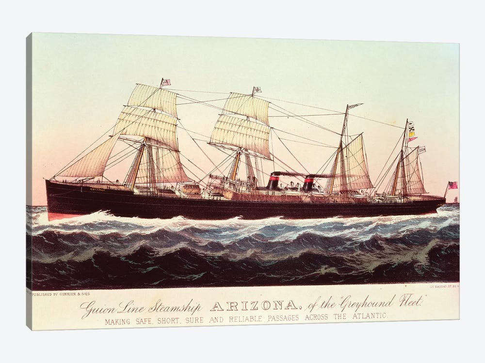 Guion Line Steamship Arizona, Of The Greyhound Fleet, Making Safe, Short And Reliable Passages Across The Atlantic by Currier & Ives 1-piece Canvas Print