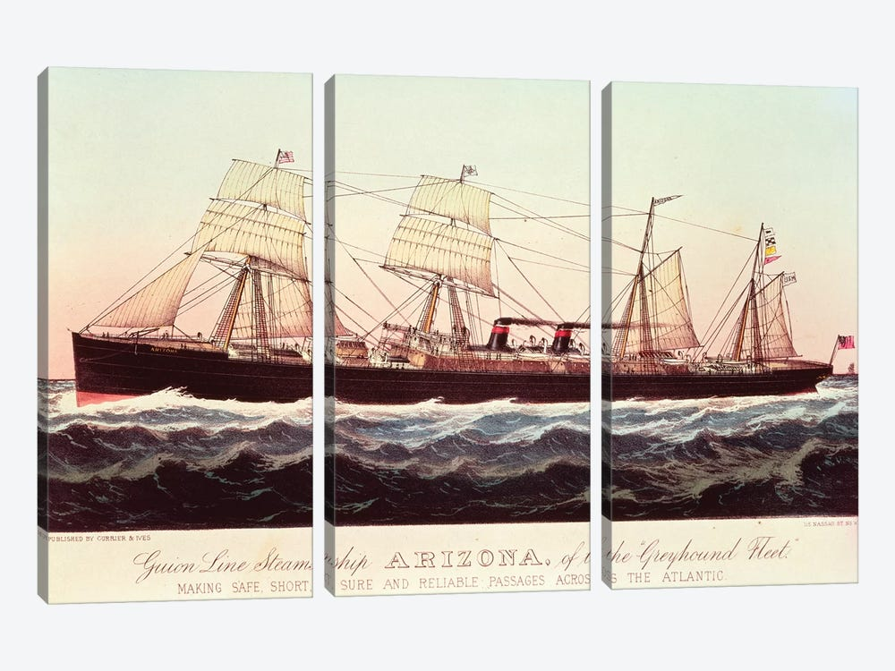 Guion Line Steamship Arizona, Of The Greyhound Fleet, Making Safe, Short And Reliable Passages Across The Atlantic by Currier & Ives 3-piece Canvas Art Print