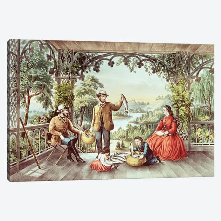 Home From The Brook, The Lucky Fishermen Canvas Print #BMN6912} by Currier & Ives Canvas Art Print