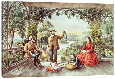 Home From The Brook, The Lucky Fishermen Canvas Art Print