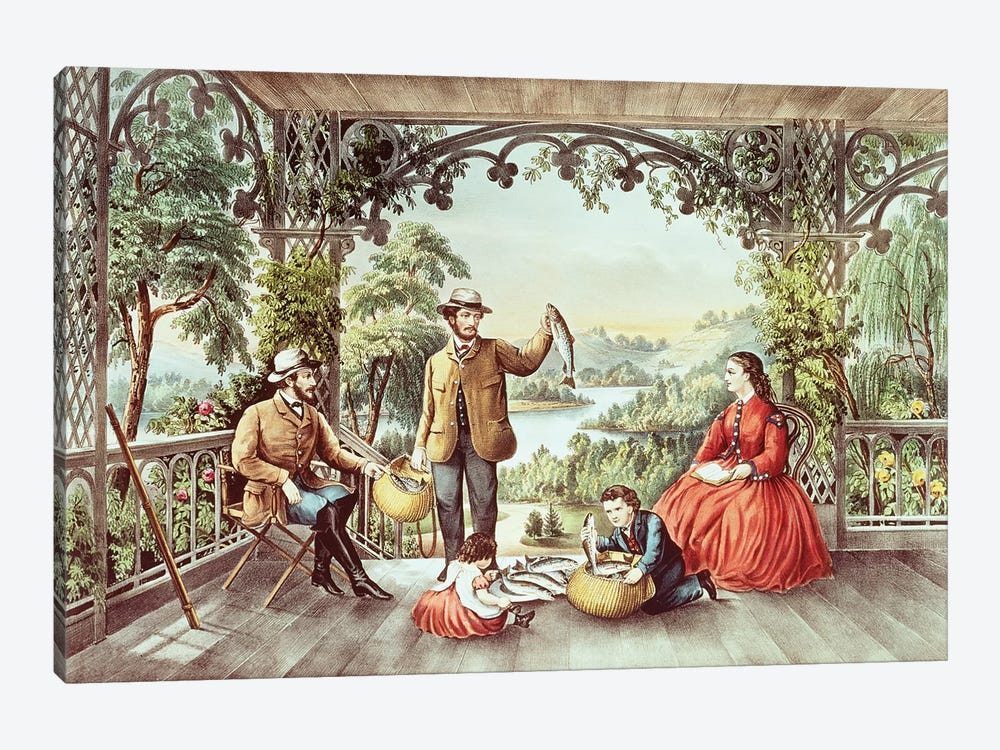 Home From The Brook, The Lucky Fishermen by Currier & Ives 1-piece Canvas Art