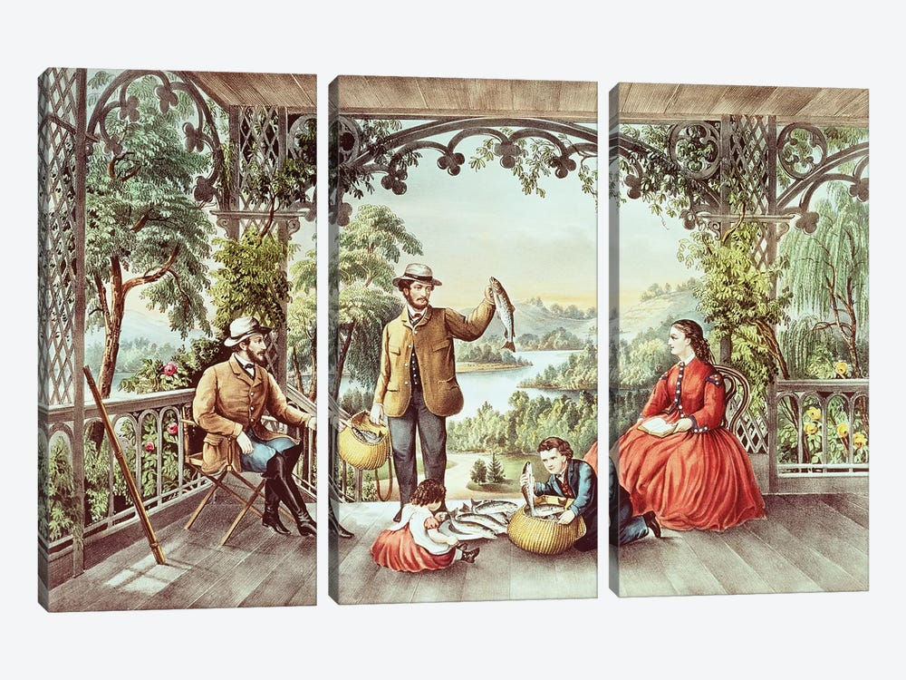 Home From The Brook, The Lucky Fishermen by Currier & Ives 3-piece Canvas Art