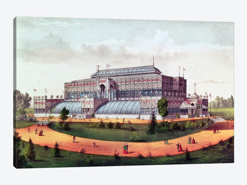 Horticultural Hall, Grand United States Centennial Exhibition, 1876 by Currier & Ives 1-piece Canvas Print