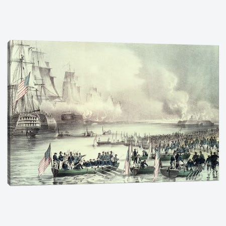 Landing Of The American Force At Vera Cruz Under General Scott, March 1847 Canvas Print #BMN6914} by Currier & Ives Canvas Art