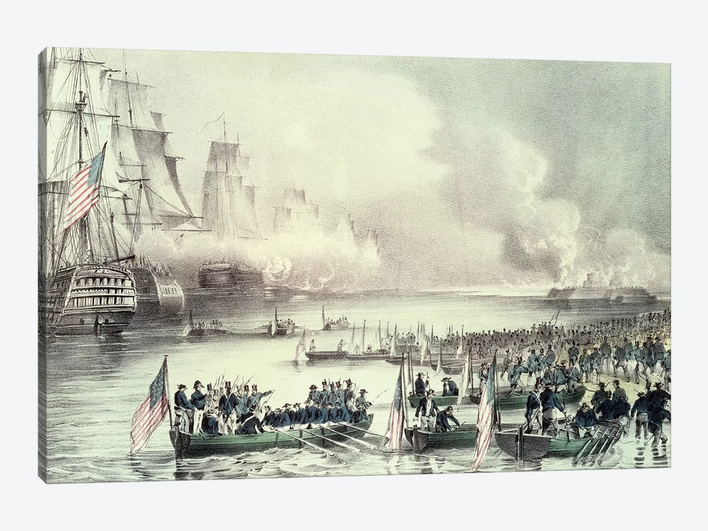 Landing Of The American Force At Vera Cruz Under General Scott, March 1847 by Currier & Ives 1-piece Canvas Wall Art