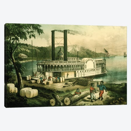 Loading Cotton On The Mississippi, 1870 Canvas Print #BMN6915} by Currier & Ives Canvas Art