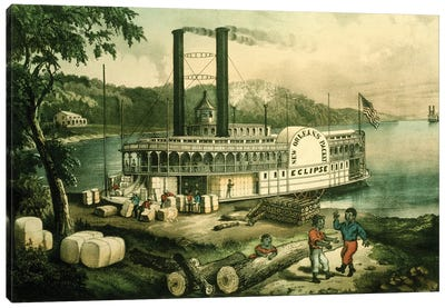 Loading Cotton On The Mississippi, 1870 Canvas Art Print
