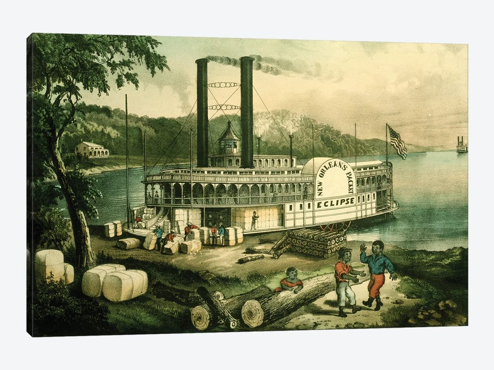 Loading Cotton On The Mississippi, 1870 by Currier & Ives 1-piece Canvas Art Print