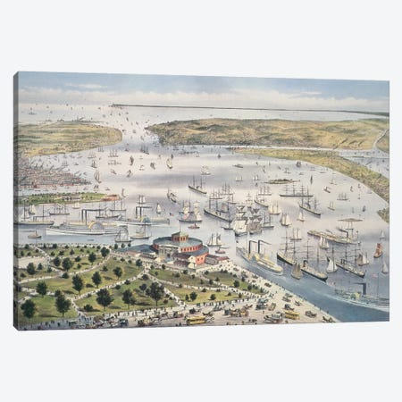 Port Of New York, Looking South, c.1880 Canvas Print #BMN6916} by Currier & Ives Canvas Artwork