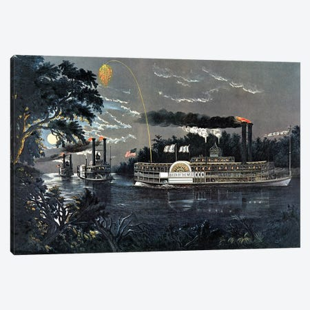 """Rounding A Bend On The Mississippi Steamboat """"Queen Of The West"""" Canvas Print #BMN6917} by Currier & Ives Canvas Wall Art"""