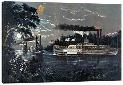 """Rounding A Bend On The Mississippi Steamboat """"Queen Of The West"""" Canvas Art Print"""