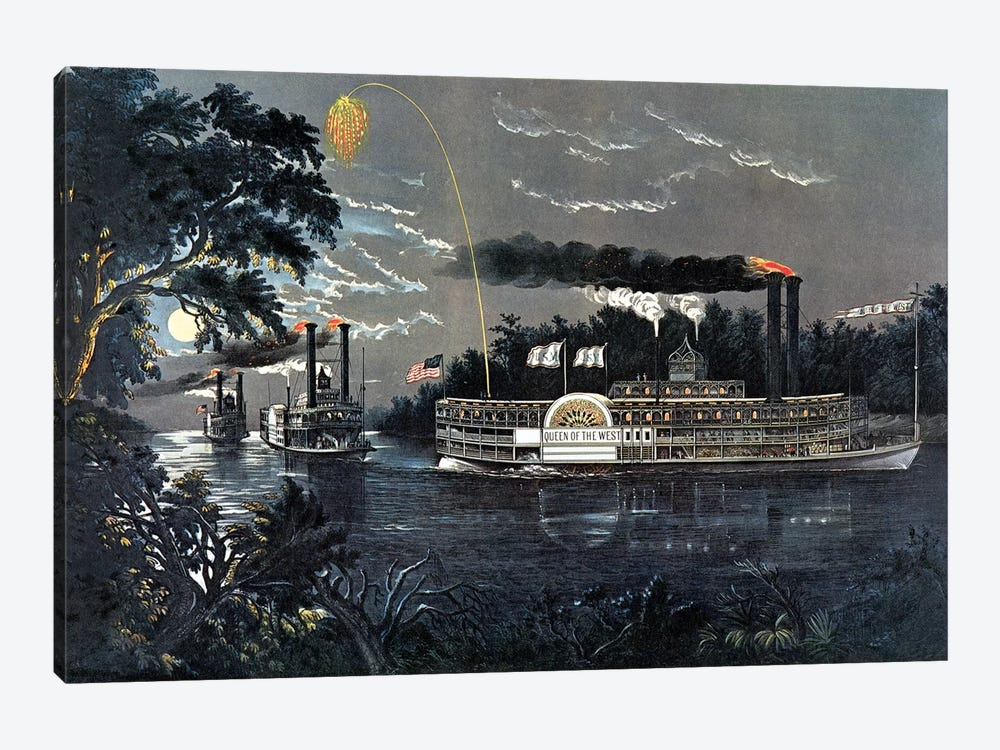 """Rounding A Bend On The Mississippi Steamboat """"Queen Of The West"""" by Currier & Ives 1-piece Canvas Art Print"""