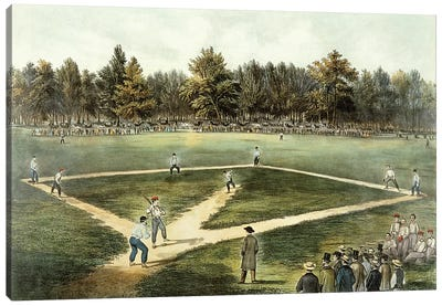 The American National Game Of Baseball - Grand Match At Elysian Fields, Hoboken, NJ, 1866 Canvas Art Print