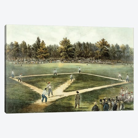 The American National Game Of Baseball - Grand Match At Elysian Fields, Hoboken, NJ, 1866 Canvas Print #BMN6919} by Currier & Ives Canvas Art Print