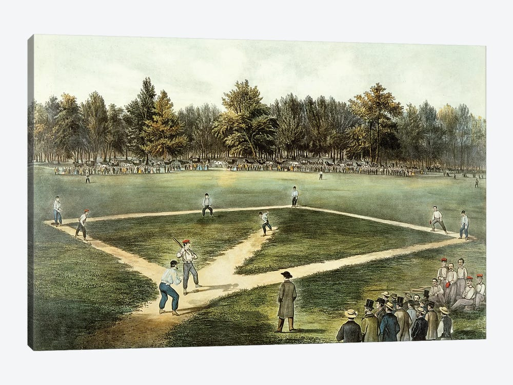 The American National Game Of Baseball - Grand Match At Elysian Fields, Hoboken, NJ, 1866 by Currier & Ives 1-piece Canvas Print