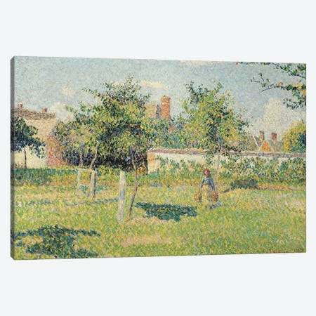 Woman in the Meadow at Eragny, Spring, 1887  Canvas Print #BMN691} by Camille Pissarro Canvas Print