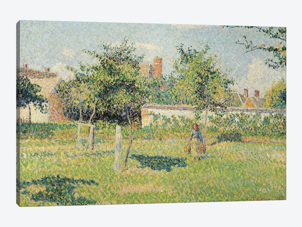 Woman in the Meadow at Eragny, Spring, 1887  by Camille Pissarro 1-piece Canvas Print