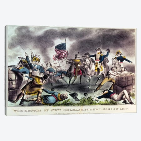 The Battle Of New Orleans, 8th January, 1814 Canvas Print #BMN6920} by Currier & Ives Canvas Wall Art