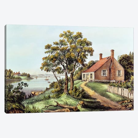 The Birthplace Of Washington At Bridges Creek, Westmoreland County, VA 3-Piece Canvas #BMN6922} by Currier & Ives Canvas Artwork