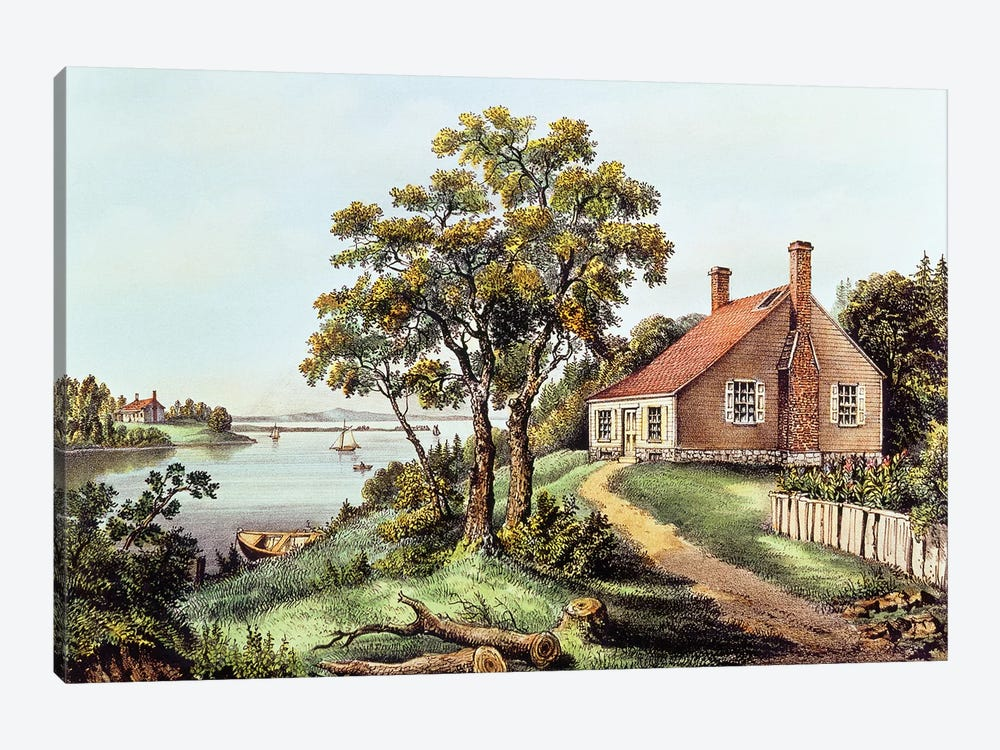 The Birthplace Of Washington At Bridges Creek, Westmoreland County, VA by Currier & Ives 1-piece Canvas Art Print
