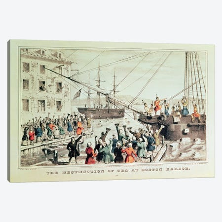 The Boston Tea Party, 1846 Canvas Print #BMN6923} by Currier & Ives Canvas Wall Art