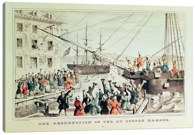 The Boston Tea Party, 1846 Canvas Art Print