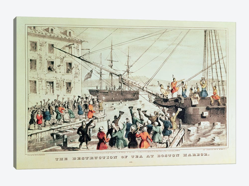 The Boston Tea Party, 1846 by Currier & Ives 1-piece Canvas Art