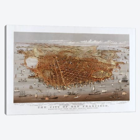 The City Of San Francisco, Bird's Eye View From The Bay Looking South-West, c.1878 Canvas Print #BMN6925} by Currier & Ives Canvas Art Print
