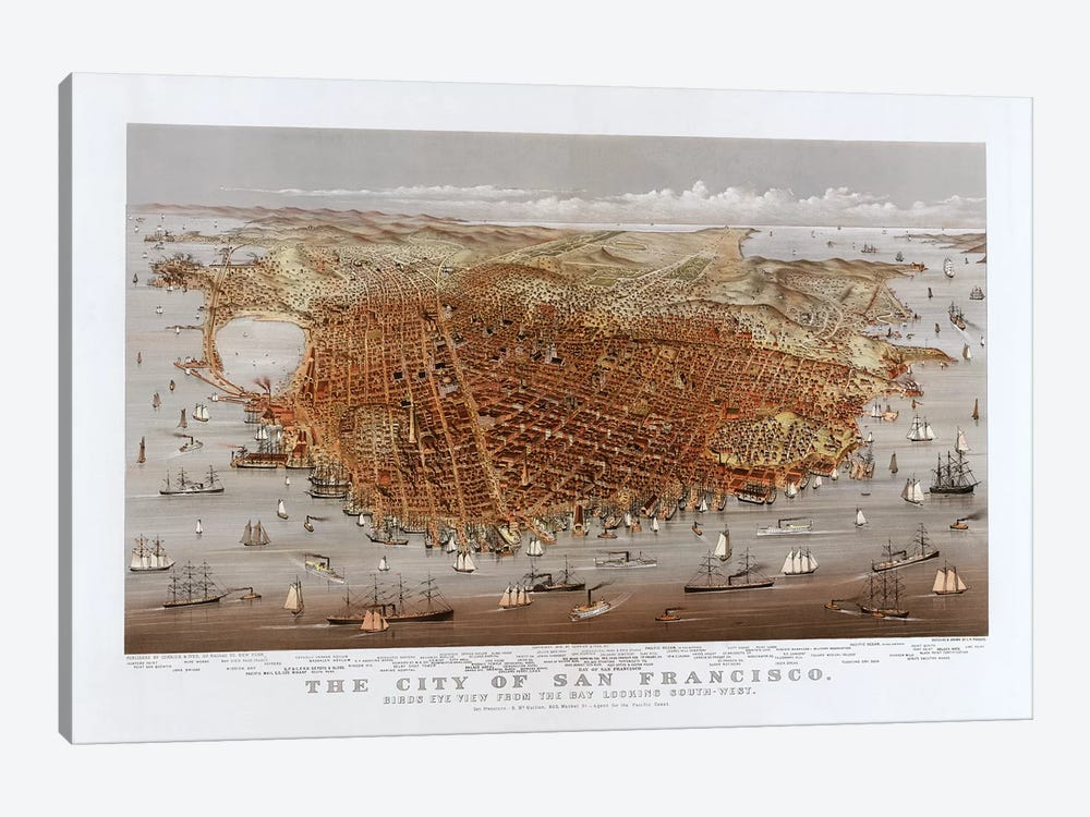 The City Of San Francisco, Bird's Eye View From The Bay Looking South-West, c.1878 1-piece Canvas Artwork