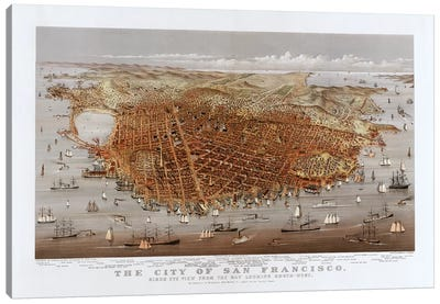 The City Of San Francisco, Bird's Eye View From The Bay Looking South-West, c.1878 Canvas Art Print