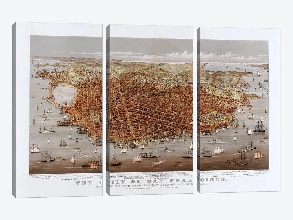 The City Of San Francisco, Bird's Eye View From The Bay Looking South-West, c.1878 by Currier & Ives 3-piece Canvas Art