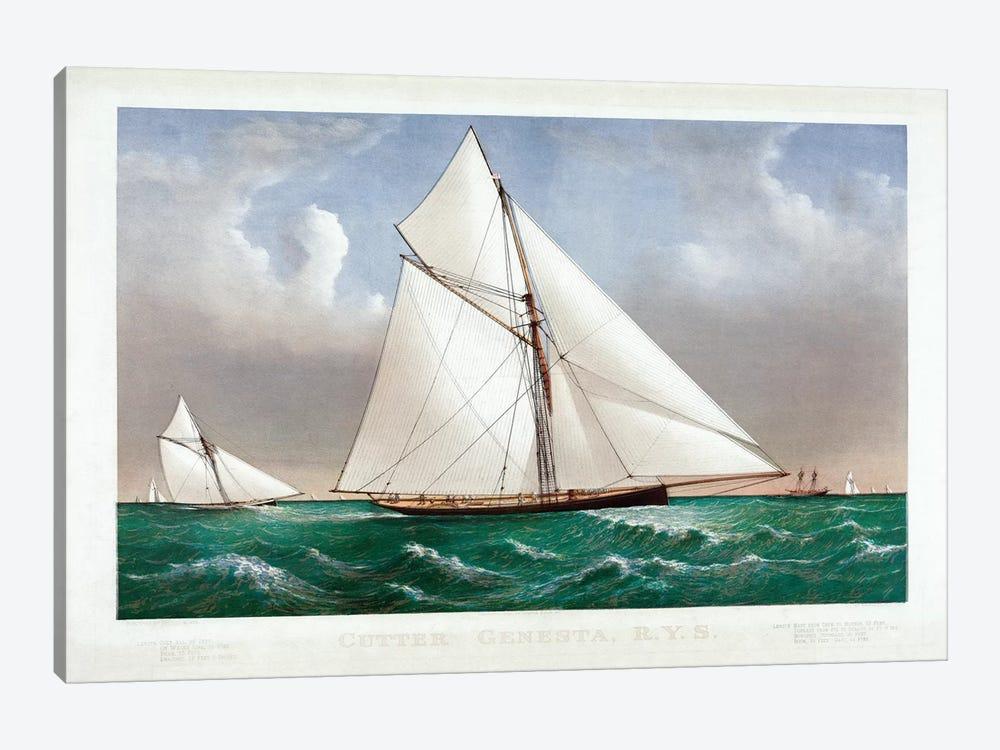 The Cutter Genesta, 1885 by Currier & Ives 1-piece Canvas Art Print