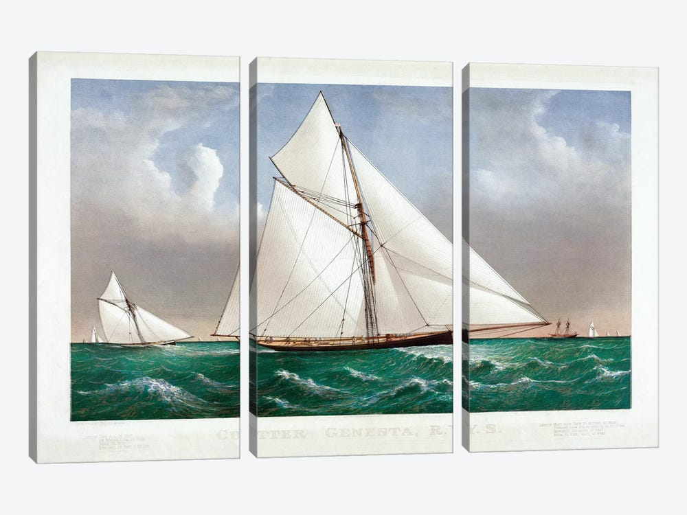 The Cutter Genesta, 1885 by Currier & Ives 3-piece Canvas Art Print