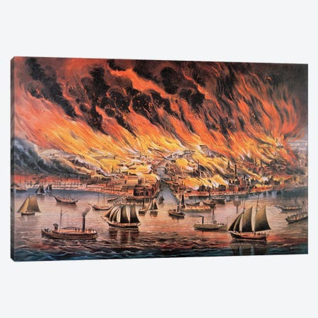 The Great Fire Of Chicago, 1871 Canvas Print #BMN6928} by Currier & Ives Canvas Art