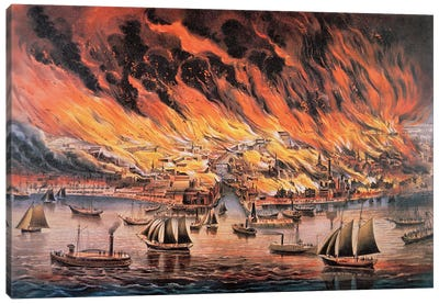 The Great Fire Of Chicago, 1871 Canvas Art Print