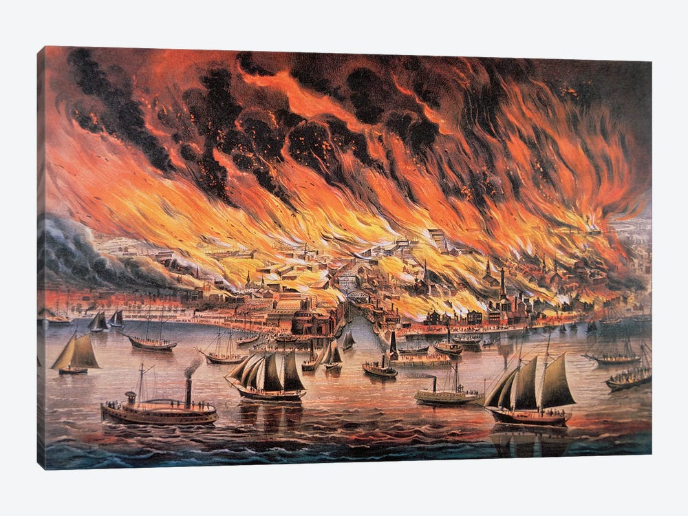The Great Fire Of Chicago, 1871 by Currier & Ives 1-piece Canvas Art Print