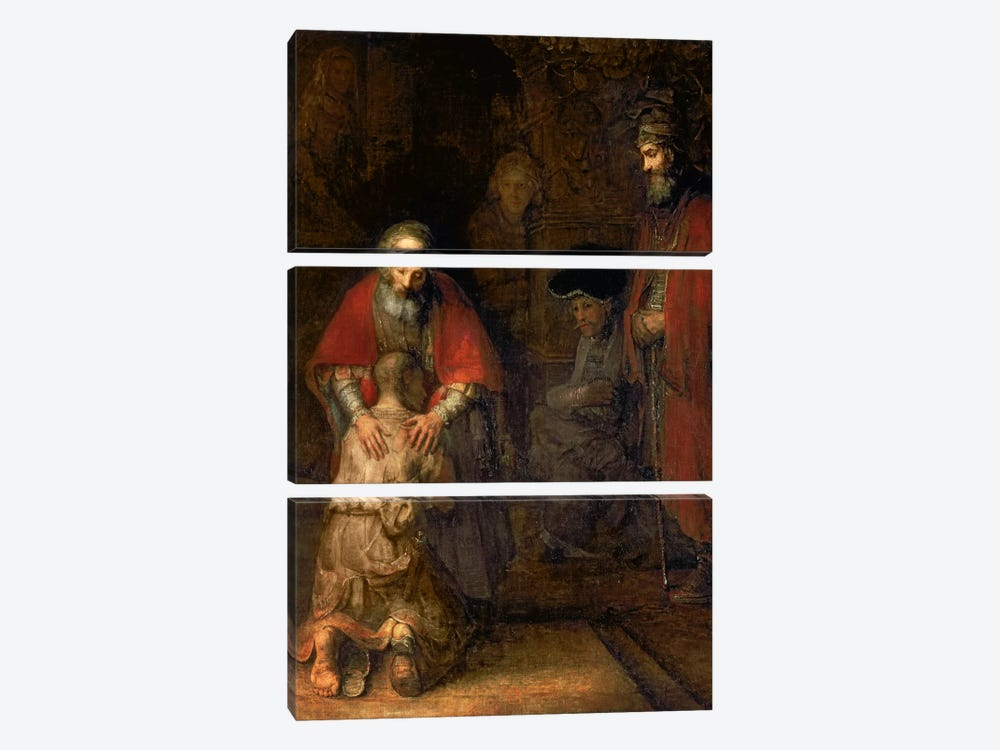 Return of the Prodigal Son, c.1668-69  by Rembrandt van Rijn 3-piece Canvas Wall Art