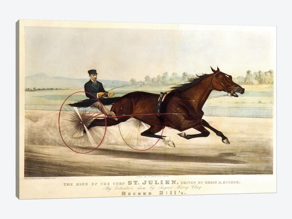 "The King Of The Turf ""St. Julien"", Driven By Orrin A. Hickok, 1880 by Currier & Ives 1-piece Canvas Artwork"