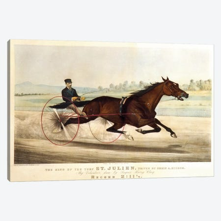 """The King Of The Turf """"St. Julien"""", Driven By Orrin A. Hickok, 1880 Canvas Print #BMN6930} by Currier & Ives Canvas Art Print"""