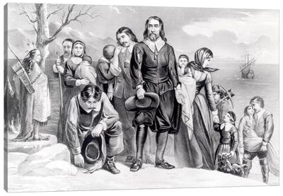 The Landing Of The Pilgrims At Plymouth, Massachusetts, 22nd December, 1620 (B&W) Canvas Print #BMN6931