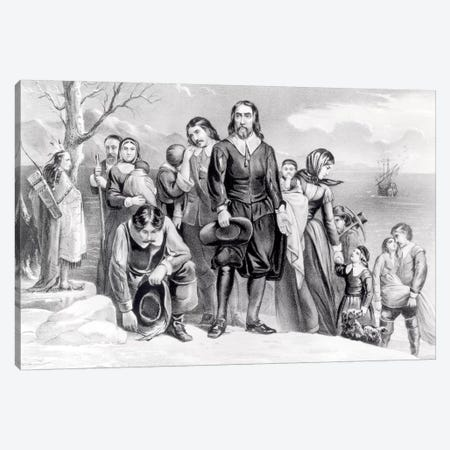 The Landing Of The Pilgrims At Plymouth, Massachusetts, 22nd December, 1620 (B&W) Canvas Print #BMN6931} by Currier & Ives Canvas Art Print