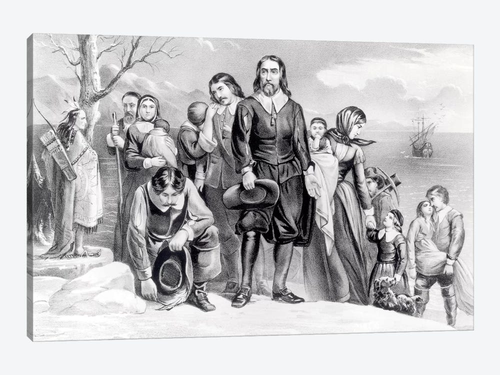 The Landing Of The Pilgrims At Plymouth, Massachusetts, 22nd December, 1620 (B&W) by Currier & Ives 1-piece Canvas Print