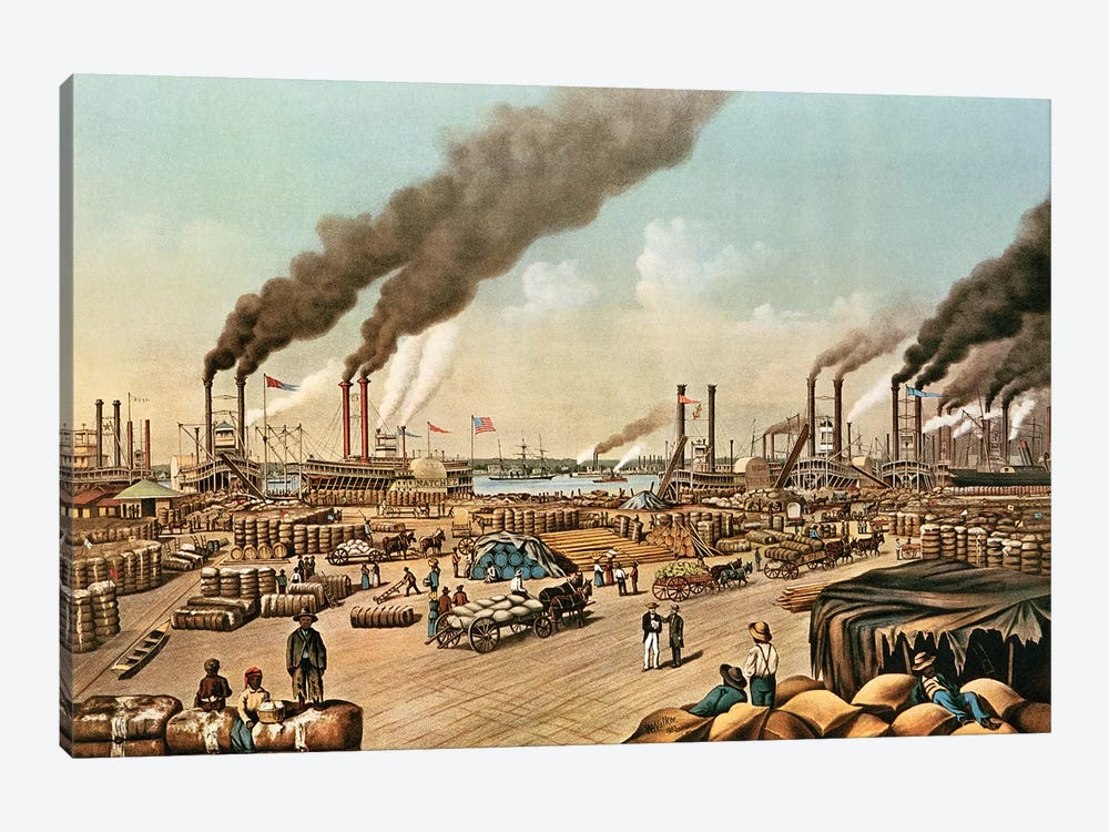The Levee - New Orleans, 1884 by Currier & Ives 1-piece Canvas Artwork