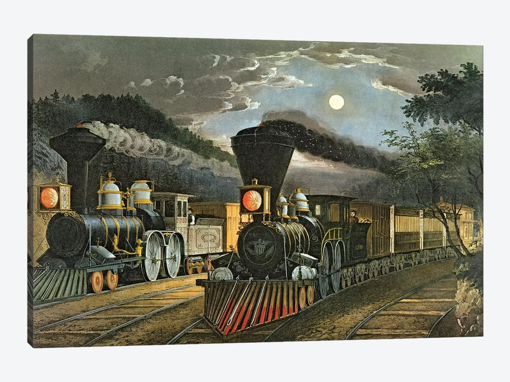 The Lightning Express Trains, 1863 by Currier & Ives 1-piece Canvas Art Print