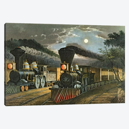 The Lightning Express Trains, 1863 3-Piece Canvas #BMN6933} by Currier & Ives Canvas Print