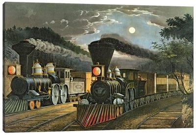 The Lightning Express Trains, 1863 Canvas Art Print