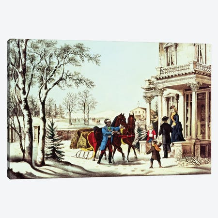 The Pleasures Of The Country Canvas Print #BMN6934} by Currier & Ives Canvas Artwork