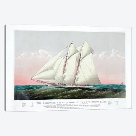 The Schooner Magic Of The New York Yacht Club, 1870 Canvas Print #BMN6935} by Currier & Ives Canvas Artwork