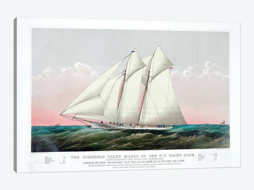 The Schooner Magic Of The New York Yacht Club, 1870 by Currier & Ives 1-piece Canvas Art Print