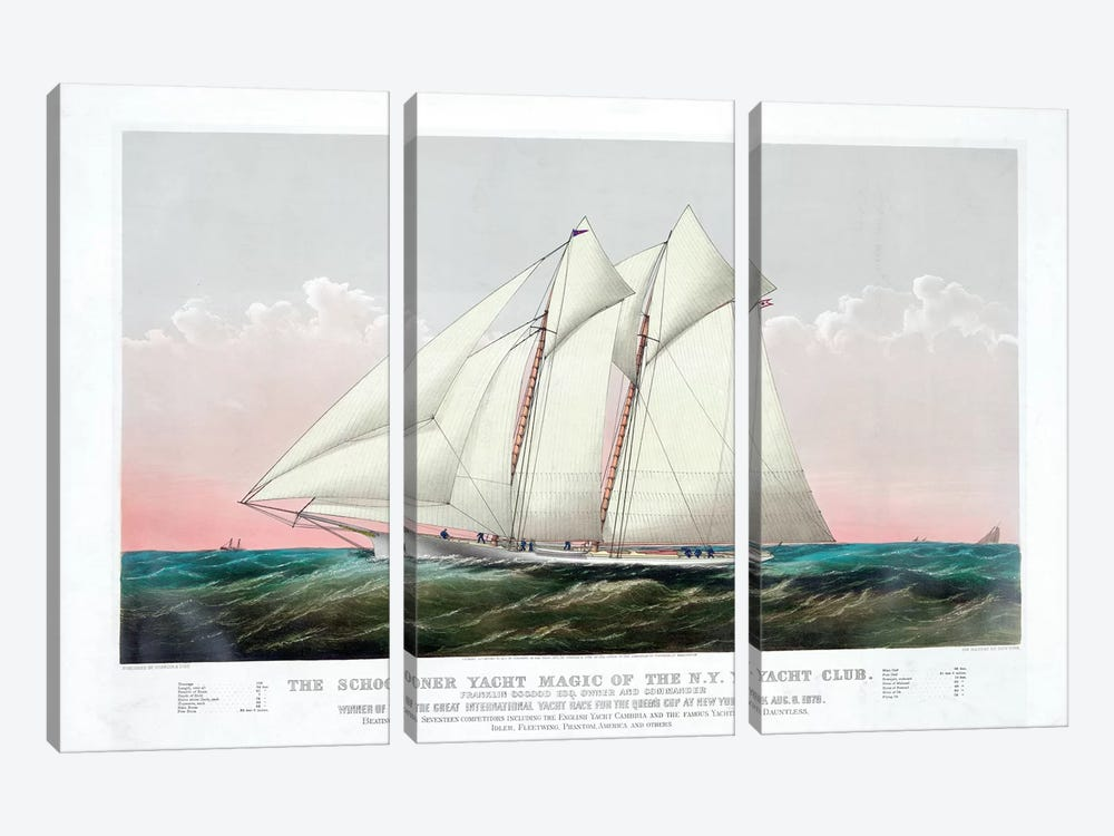 The Schooner Magic Of The New York Yacht Club, 1870 by Currier & Ives 3-piece Canvas Print